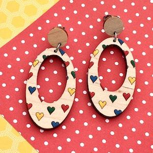 Everyday Confetti Oval Dangle Earrings - Hearts