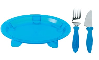 Steadyco Lets Eat Plate Knife & Fork Blue