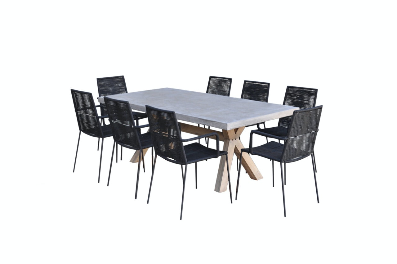 Copenhagen rope concrete 9 piece setting black for Garden table and chairs sale