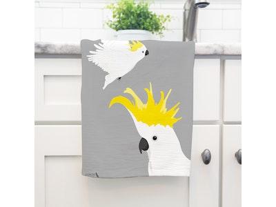 Flying Cockatoo Art Tea Towel in 100% Linen