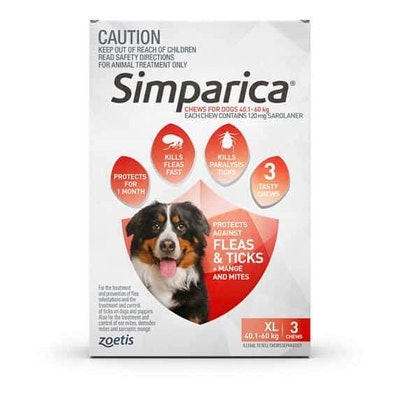 SIMPARICA Flea, Tick & Mite Treatment 40.1-60kg Dog