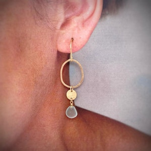 Aqua Seaglass Earrings with Hammered Organic Circle and Disc - Gold