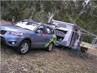 Hyundai Santa Fe R AWD traction puts Jayco on site at Tathra Beach Motor Village 052