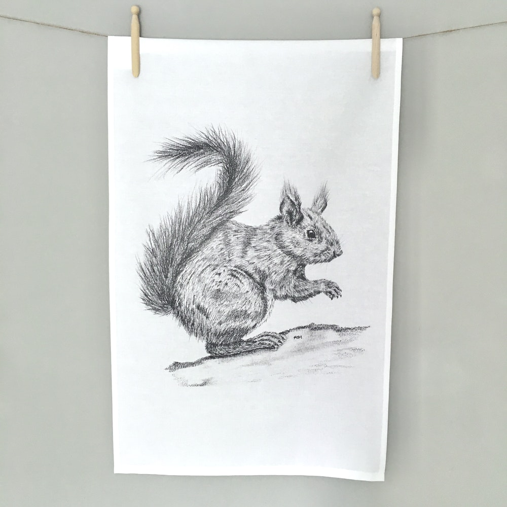 Bruce Bramfield Squirrel Organic Cotton Tea Towel