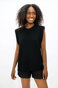 1 People Napoli High Neck Knitted Top in Licorice Black
