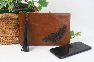Freya Leather Purse - Feather Tan & Black