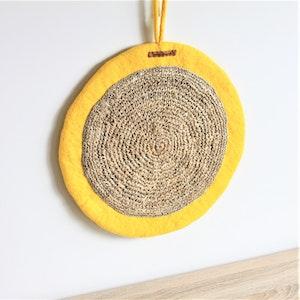 Queenie's Pawprints Round Felt & Jute Cat Scratcher in Lemon Yellow