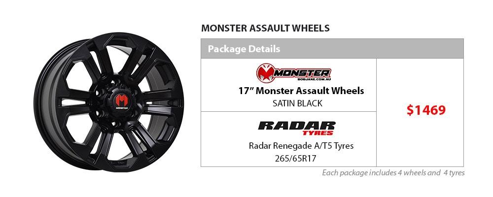 Monster & Radar Wheel & Tyre Package $1469