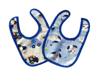 Japoodah Reversible waterproof dribble bib Puppies and Trains