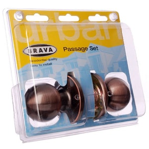 Brava Urban BRT3930 Series Passage Knobset with Adjustable Backset in Antique Copper