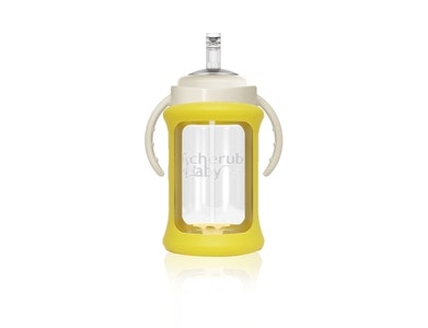 Wide Neck Glass Straw Cup with Colour Change Sleeve 240ml - Yellow