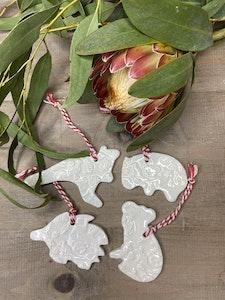 Gift Boxed Set of 4 Handmade Porcelain Australian Animal Decorations