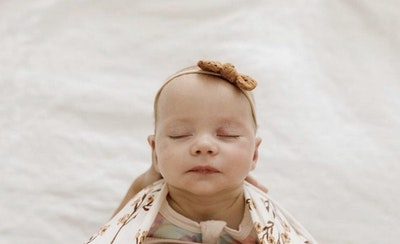 Brown Broderie Bow Headband - Mae + Rae