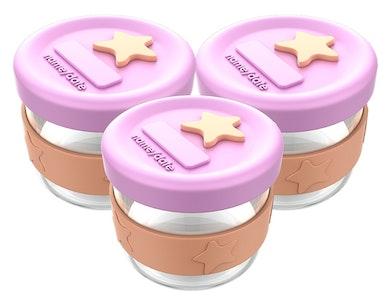 Silicone & Glass Baby Food Storage 3PK 120ml - Peach Blush