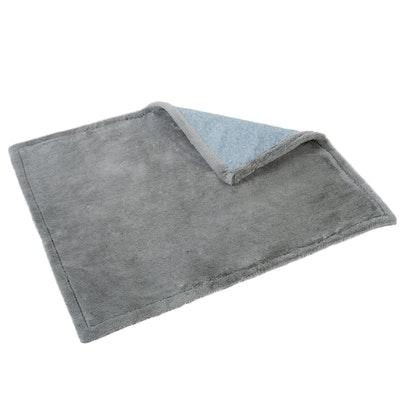 Charlie's Pet Reversible Faux Fur Winter Rug & Blanket - Blue & Grey Trim