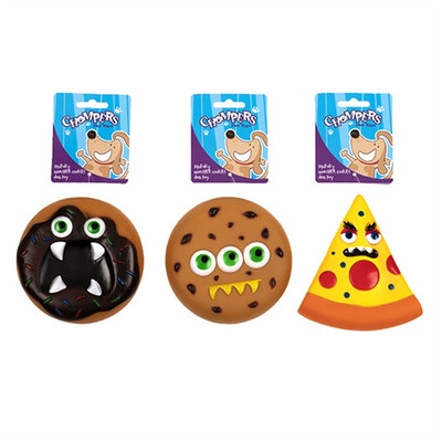 Chompers Dog Toy Monster Cookies 3 Assd