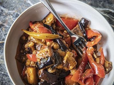 Caponata, Eggplant, Capsicum, Pine Nuts, Sultanas Serves 2.