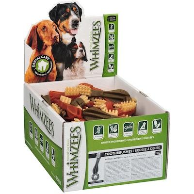 Whimzees Toothbrush Dental Care Dog Treat Display Box - 5 Sizes