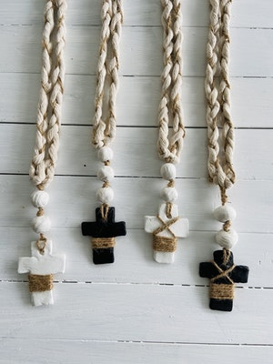 DIYGIRL.SHEDSHOP Handcrafted white Clay beaded garland & Cross with twine detail