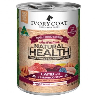 IVORY COAT Grain Free Adult Dog Food Lamb & Kangaroo Stew 400g x 12