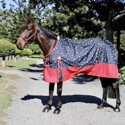 Capriole Equestrian 600D Navy & Red Stars Waterproof Rug – Rainsheet.