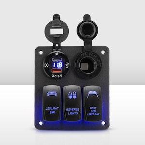 Vic Off Road 3 Gang Rocker Switch Panel ON-OFF Toggle Voltmeter 12V 24V