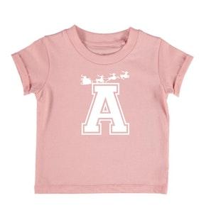 Personalised Varsity Sleigh Tee - Blush Pink