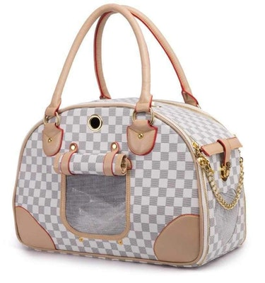 DoggyTopia Luxe Checker Bowling Tote Dog Carrier