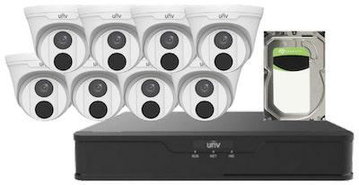 UNV Uniview UNV 3MP CCTV Kit 8 x plastic turret cameras, 1 x NVR with 1 x 4TB hard drive