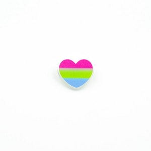 Mini Polysexual Heart Flag Printed Acrylic Brooch