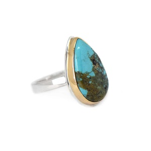 STERLING SILVER AND 14K GOLD TURQUOISE RING