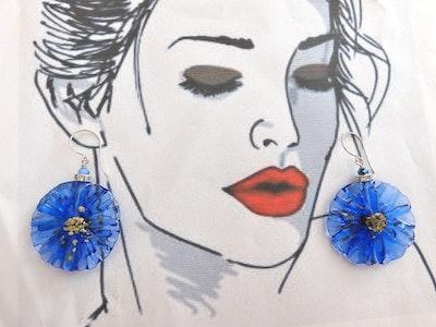 Beadoire Glass Lampwork Glass Earrings   'Fleurs' 2021