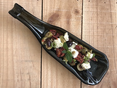 Upcycled wine bottle platter | Deep dish, spoon rest