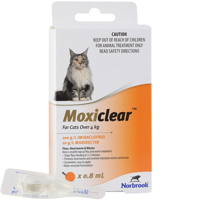 MOXICLEAR Fleas & Worms Treatment for Cats Over 4kg Orange - 2 Sizes