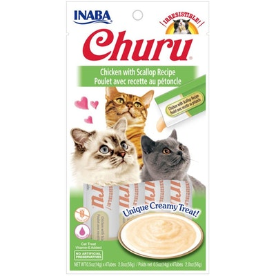INABA® Churu Purée Cat Wet Treat – Chicken With Scallop  14g X 4