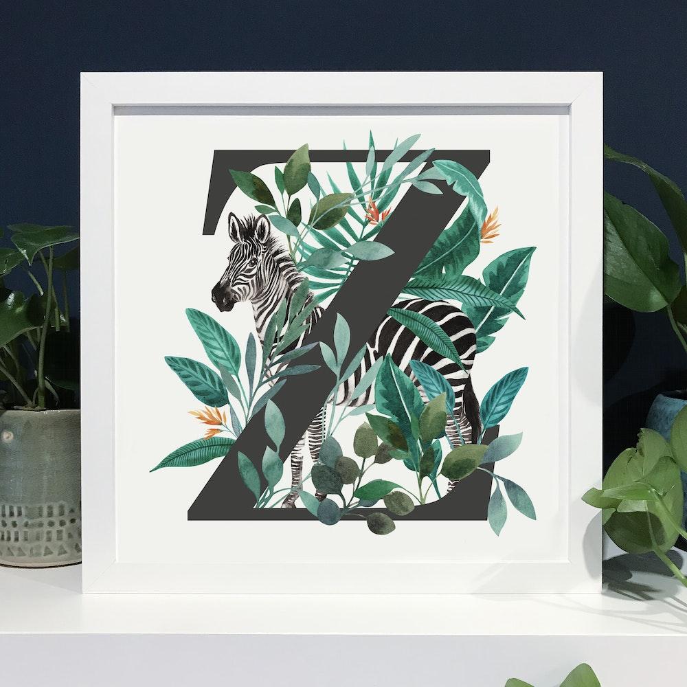 Laura Elizabeth Illustrations Z For Zebra Fine Art Print