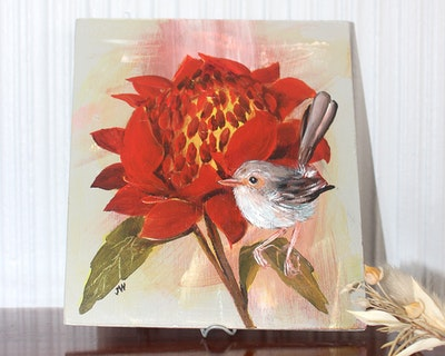 Sunbirds Design Original Small Acrylic Painting - Welshie No.1