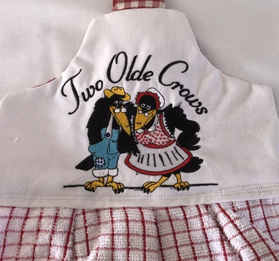 Two Olde Crows Double Tea Towel