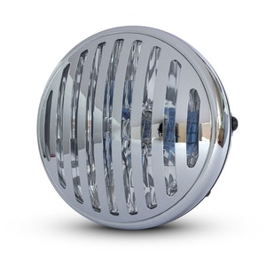 "7.5"" Classic Metal Prison Grill Headlight - Gloss Black / Chrome"