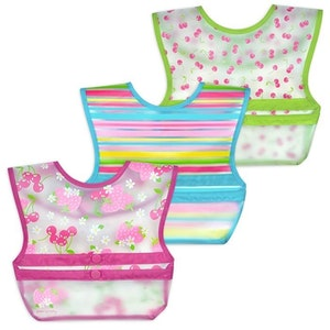 green sprouts Snap & Go™ Wipe-off Bib (3 pack) 9-18mo - Pink Berries