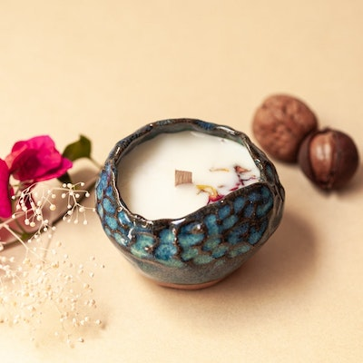 Sand and Fire Designs Scented soy wax candle in carved ceramic tealight holder   Lime and sea salt