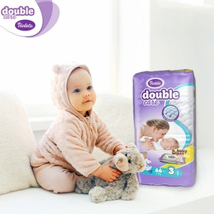 DOUBLE CARE 4-9KG NAPPIES SIZE 2-3 PACK OF 66 WITH FREE BABY Wipes