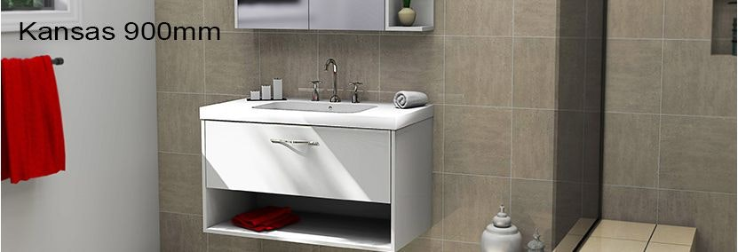 Timberline kansas 900mm wall hung vanity choice of tops for Premade bathroom vanities