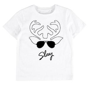 Reindeer Slay White Tee