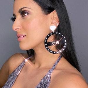STUDIO 54 DISCO DANGLES   Personalised Name Earrings