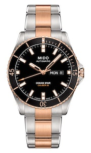 Mido Ocean Star - Stainless Steel with Rose Gold PVD - Black Rubber Strap