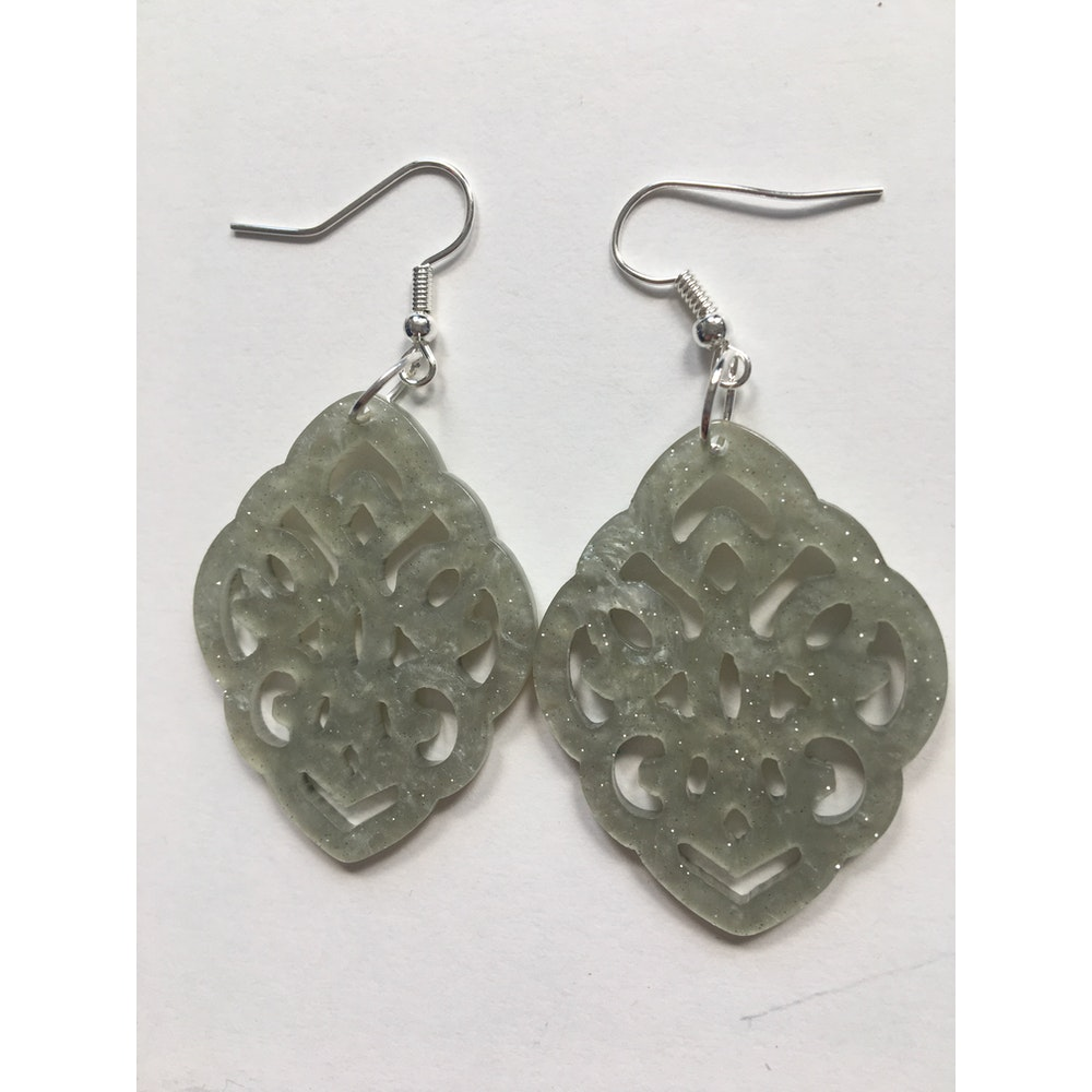 One of a Kind Club Light Green Resin Shaped Earrings