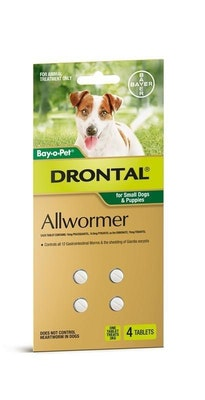 Drontal Dog Wormer Extra Small Up To 3kg 4 pack