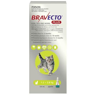 BRAVECTO Plus 3 Month Cat Spot On Tick & Flea Treatment 1.2-2.8kg Small Green