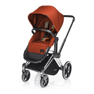 Priam Chrome with Black Pram + 2-in-1 Light Seat. Autumn Gold